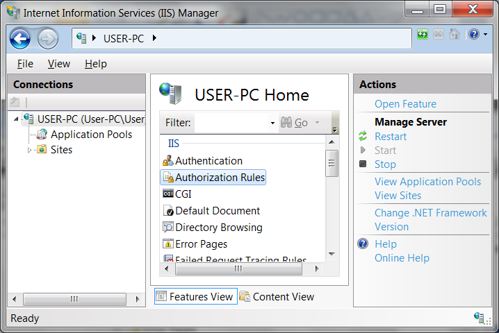 view of IIS Manager feature list